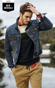 .:Casual Male Fashion. Sweater + Denim. Interesting! #mensfashion #fashioninspiration