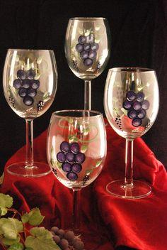 Hand painted Tuscany grape wine glass