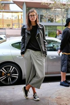leather moto jacket, grey drop crotch culottes, black converse