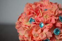 Coral and Teal Turquoise Hydrangea Brooch Button Bouquet Orange Blue Bouquet Summer or Beach Wedding by LuckBridalDesigns on Etsy https://www.etsy.com/listing/124702595/coral-and-teal-turquoise-hydrangea