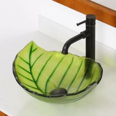 Elite Hot Melted and Hand Painted Spring Leaf Shaped Tinted Transparent Vessel Bathroom Sink and Pop-up Drain and Mounting Ring & Reviews | Wayfair Glass Sink, Vessel Sink Bathroom, Glass Bathroom, Green Palette, Bowl Sink, Chic Bathrooms, Nature Decor, Leaf Shapes, Leaf Design