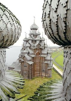 The Church of the Transfiguration on the Island of Kizhi in Russia has 22 onion domes covered with hundreds of aspen shingles. It's made of wood without a single nail.