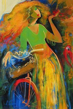 Lady with a #bicycle #painting #bicyclepainting
