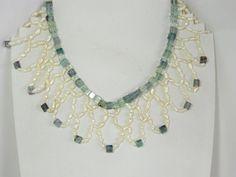 Cleopatra style bib necklace of aqua fluorite and by ellensjewels, $100.00