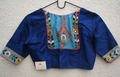 royal blue kutch work blouses from house of taamara Kurti Designs Party Wear, Kurta Designs, Embroidery Neck Designs, Crewel Embroidery, Machine Embroidery, Kutch Work Designs, Saree Blouse Neck Designs, Stylish Blouse Design, Designer Blouse Patterns