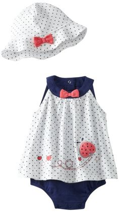 $17 Little Me Baby-girls Newborn Cute Lady Popover And Hat: Clothing