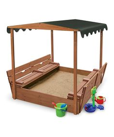 Covered Convertible Cedar Sandbox & Canopy by Badger Basket on #zulily