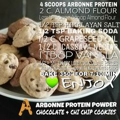 Chocolate chip cookies - All You Need To Know About Detox Arbonne Protein, Arbonne Detox, Arbonne Nutrition, Healthy Living Recipes, Clean Eating Recipes, Chocolate Chip Cookies, Cheddar, Nutella, Protein Powder Recipes