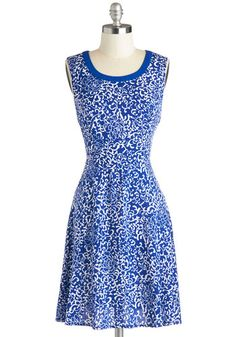 Because You're Vine Dress - Woven, Mid-length, Blue, White, Print, Casual, A-line, Sleeveless, Good, Scoop