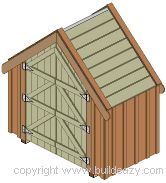 narrow backyard shed.  This one is only 4'x7' and there are also plans for 7'x8'