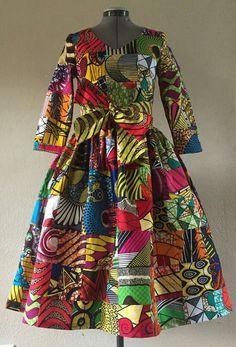 Robe en Wax africain imprimé Patchwork véritable Midi avec poches, manches 3/4 et ceinture en option