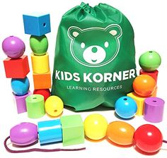 Kids Korner 24 Lacing Beads Set for Toddlers Jumbo 6 Colors 4 Shapes Bag 2 Stringing Bead Laces and Travel Backpack with Activity eBook >>> Click image for more details.Note:It is affiliate link to Amazon.