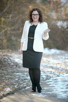 Wardrobe Oxygen: What I Wore: Ivory and Black featuring ivory Vince Camuto blazer, black dress from @Dobbin Clothing black Nine West Flax pumps, leopard calfhair belt what I wore to work