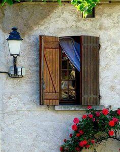 Windows and doors . The door - the border. Behind the door - another room, another space. Window Shutters, Window Boxes, Wooden Shutters, Old Windows, Windows And Doors, Ventana Windows, Window Dressings, Window View, Through The Window