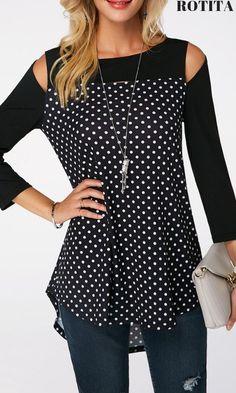 Cold Shoulder Dip Hem Polka Dot Print T Shirt - Women's Fashion Trends Trendy Tops For Women, Blouses For Women, Red Blouses, Casual Outfits, Fashion Outfits, Womens Fashion, Fashion Trends, Annie Leibovitz, Cold Shoulder Blouse