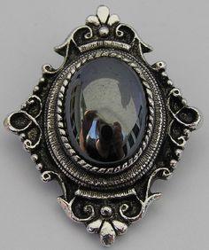 Mystique Pendant Necklace Black Hematite Cabochon Brooch Pin Vtg Sarah Coventry #SarahCoventry #PinPendantCombination