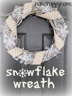 home happy home: snowflake and burlap wreath
