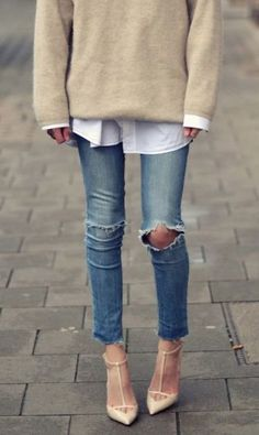 Mixed outfit. Simple, elegant and broken garments. Nude leather on point heels, broken skinny jeans, plain simple button down and beige simple sweater. Outfit to copy.