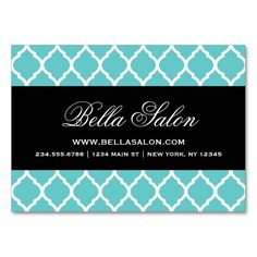Turquoise & Black Modern Moroccan Lattice Business Card Template