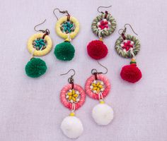Dream Catcher Earring with pompom tails /Accessories/ Boho