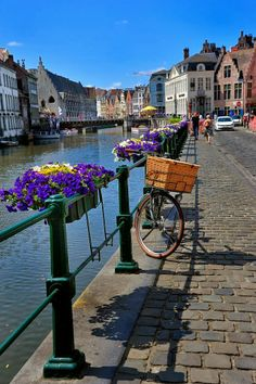 A beautiful walk down the canal of Ghent, Belgium