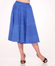 Love this Blue & White Polka Dot Midi Skirt - Plus Too on #zulily! #zulilyfinds