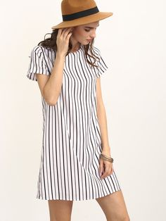 Shop Black White Striped Short Sleeve Shift Dress online. SheIn offers Black White Striped Short Sleeve Shift Dress & more to fit your fashionable needs.