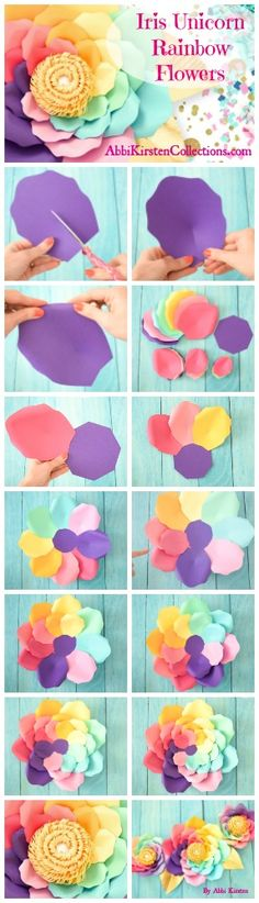 Giant paper flower tutorial. Unicorn rainbow paper flowers. Flower templates. Unicorn party decor ideas.
