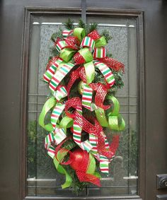 Christmas+Wreath+Christmas+Swag+Ribbon+Swag+Cascade+by+LuxeWreaths,+$115.00