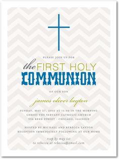 Communion Invitations - Cross Chevrons: Oasis by Tiny Prints Holy Communion Invitations, Christening Invitations, Chevron Cards, Unique Invitations, Invites, Chevrons, Tiny Prints, Rite Of Passage, First Holy Communion