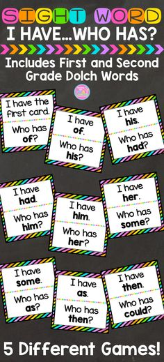 Sight Word I Have...Who Has? {First and Second Grade Dolch Words} Kindergarten Literacy, Kindergarten Sight Word Games, Learning Sight Words, Literacy Games, Sight Word Practice, Literacy Centers, Kindergarten Language Arts, Sight Word Activities, Reading Centers
