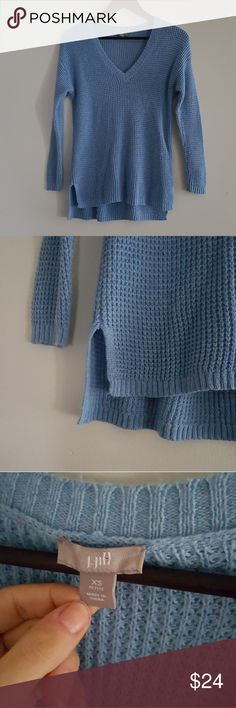 J. Jill cable knit high/low sweater size xs J. Jill cable knit high/low sweater Size xs Excellent condition  Baby blue knit sweater with slit sides J. Jill Sweaters