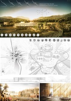 Image 12 of 12 gallery IWC Africa announce winners of ideas visitor center nature reserve in South Africa. Honorable Mention: Rings by the river. Image Courtesy of Arquideas Architecture Panel, Architecture Drawings, Architecture Portfolio, Landscape Architecture, Landscape Design, Architecture Design, Interior Design Presentation, Architecture Presentation Board, Project Presentation
