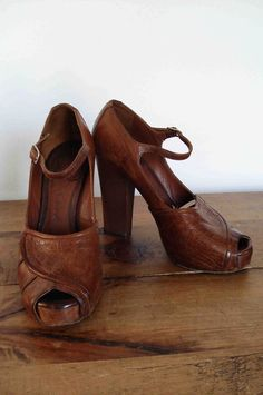 Vintage Chloe Real Wood and Leather Platforms.