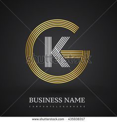 Letter GK or KG linked logo design circle G shape. Elegant gold and blue colored letter symbol. Vector logo design template elements for company identity.