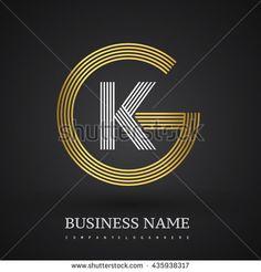 Letter GK or KG linked logo design circle G shape. Elegant gold and blue colored letter symbol. Vector logo design template elements for company identity.