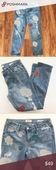 5776f935ba3 Jessica Simpson Floral Embroidered Boyfriend Jeans