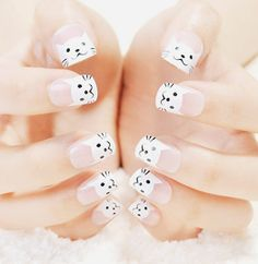 28 Pawsome Cat Nail Designs for 2019 Kawaii Nail Art, Cat Nail Art, Gold Nail Art, Cat Nails, Korean Nail Art, Korean Nails, Beautiful Nail Art, Gorgeous Nails, Cat Nail Designs