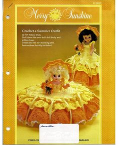 Merry Sunshine Pillow Doll, Music Box Doll, or Bed Doll Crochet Pattern Fibre Craft FCM197.