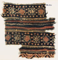 2nd half of the 10th century - 15th century AD Material and techniquetwo pieces of cotton, block-printed with resist, and mordant-dyed pink ...