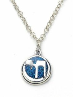 Soulful Chai Necklace in Sterling Silver Inlayed onto a Circle Pendant - Blue Color Adina Plastelina Handmade Jewelry. $74.99. Spiritual Chai pendant measures 0.5 inches, 1.3cm. A 18.9 inches, 48cm, chain is included. Please note, chain type may vary from that on the picture. Gracious sterling silver Chai pendant set in a vibrant pattern, suspends from a sterling silver chain. Click on Adina Plastelina Handmade Jewelry above the product title to view the entir...
