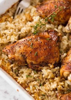 up of Baked Chicken and Rice in a white baking dish fresh out of the oven . - Chicken Food Recipes -Close up of Baked Chicken and Rice in a white baking dish fresh out of the oven . - Chicken Food Recipes - The Best Roast Potatoes Ever Recipe Baked Chicken Recipes, Turkey Recipes, Chicken Rice Bake, Recipe Chicken, Chicken Casserole, Chicken And Rice Dishes, Baked Food, Cook Baked, Chicken Thights Recipes