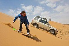 British sandboarder and snowboard champion Dom Harington : man vs. machine #LandRover #Discovery