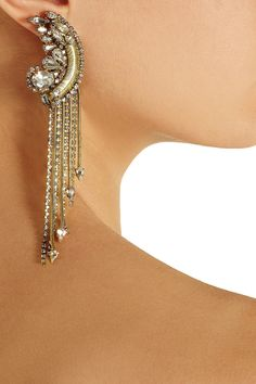 Erickson Beamon|Bette gold-plated crystal earrings|NET-A-PORTER.COM
