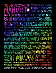 Imperfectionist Manifesto - please share this image!