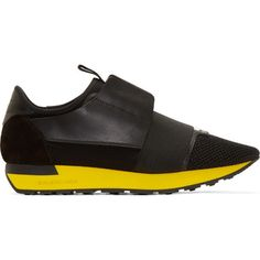 Balenciaga Black Panelled Runners ($625) ❤ liked on Polyvore featuring men's fashion, men's shoes, men's sneakers, black, mens lace up shoes, mens black shoes, mens black sneakers, balenciaga mens sneakers and balenciaga mens shoes