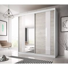 Mercury Row Where space is limited and appearance is essential, this Farnborough 2 Door Sliding Wardrobe is the perfect solution for any room. 3 Door Sliding Wardrobe, Sliding Doors, Hall Wardrobe, Modern Wardrobe, Sliding Wardrobe Designs, Double Wardrobe, Home Design, Modern Design, Interior Design