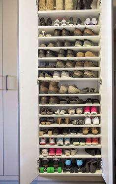 27 Awesome Shoe Rack Ideas (Concepts for Storing Your Shoes)Shoe Shelf Ideas for Garage Garage Shoe Storage, Entryway Shoe Storage, Closet Storage, Bedroom Storage, Garage Organization, Organization Ideas, Furniture Storage, Shoe Cabinet Entryway, Shoe Cabinet Design
