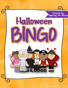Halloween BINGO: Includes 30 unique BINGO Cards, 1/2 page printable calling cards and a slideshow for use on an interactive whiteboard or with a projector. {Created by Adapting for Autism}