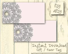 Pink & Grey wedding favor tags / Printable by itsyditsydesigns, $5.00